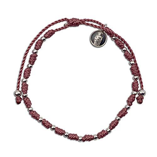 Pulsera de Nudos de Nylon Europeo Rosa, con Mini Medalla de San Judas Tadeo y Cuentas de Plata de Primera Ley