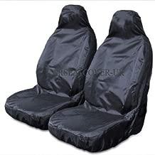 Juego de 2 fundas de asientos delanteros, resistentes, impermeables, color negro