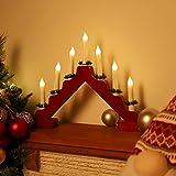 SALCAR LED Adventsleuchter mit 7 Kerzen, Rot Kerzenbogen aus Holz, 7 LED Lichter, Lichtbogen, Dreieckslichtdekoration für Weihnachtsdekoration - warmweiße LED Leuchten