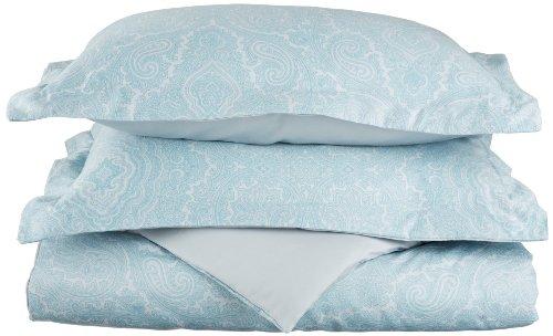 Cotton Blend 600 Thread Count, Soft, Wrinkle Resistant 3-Piece King/California King Duvet Cover Set, Paisley, Blue