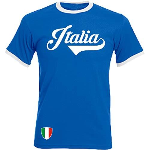Italien - Ringer Retro TS - blau - EM 2016 T-Shirt Trikot Look Italy (L)