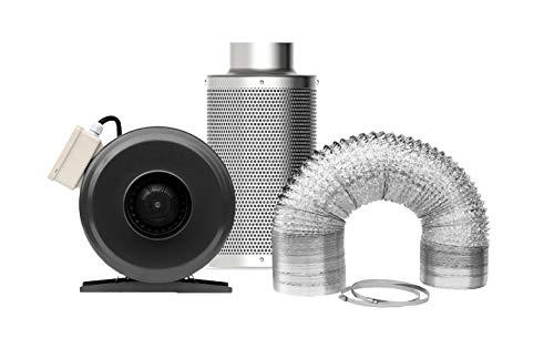SunStream 10 cm ø Rohrventilator 280m3/h Aktivkohle-Luftfilter 2,4M Luftschlauch Set für Growbox, Gewächshaus, Pflanzenzelt