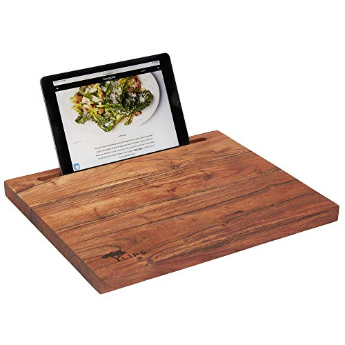 iPad Cutting Board for Today's Kitchen – Premium Rustic Acacia Wood – Universal: Holds iPad, Tablet, Phone; The Modern Cookbook / Recipe Stand – A Great Chopping Board for the Techie Cook