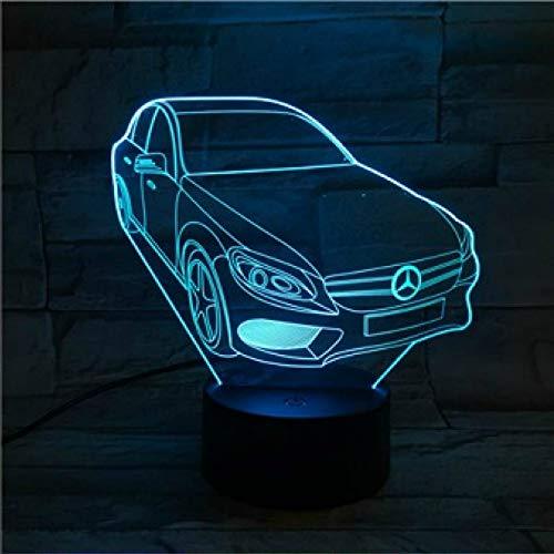 CHSYWH Coche 3D cambiante Multicolor, luz de autobús con Control Remoto táctil, luz de Noche USB, Regalo para niño, decoración de Escritorio de Dormitorio, luz de Noche LED