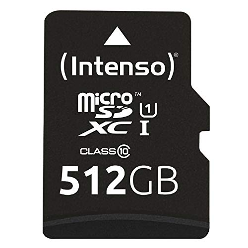 Intenso Micro SD UHS-I SDXC 512 GB Geheugenkaart, Class 10, inclusief SD-Adapter, Zwart