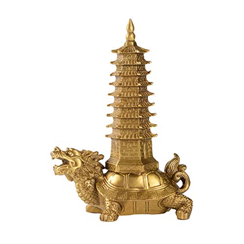 Brass Feng Shui Statue Dragon Turtle Wenchang Pagoda Home Office Decoration Attract Academic and Career Luck Education Tower Figurine Gift for Collection PTZY051