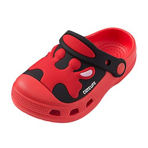Kinder Sandalen Hausschuhe Raupe rutschfeste Hausschuhe Piebo Sommer Badeschuhe Pantoffeln Atmungsaktiv Latschen rutschfeste Slippers Cartoon Strand Schuhe für Jungen Mädchen (26 EU, ZB-Rot)