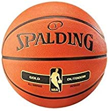 Spalding Unisex Adult NBA Gold Series Outdoor Rubber Basketball - Orange, Size 7