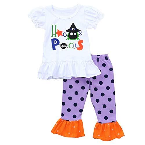 VENMO Halloween Babykleidung, 2pcs Kleinkind Säugling Baby Junge Mädchen kinderkostüme Niedlich Kürbis Drucken Neugeboren Kleidung Satz Blumen Hoodie Tops + Haremshose Hosen Outfits (White, 110)