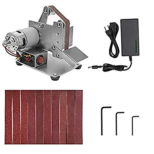 Lijadora de banda eléctrica de velocidad ajustable, banco de trabajo, acero inoxidable, lijadora de 15 mm