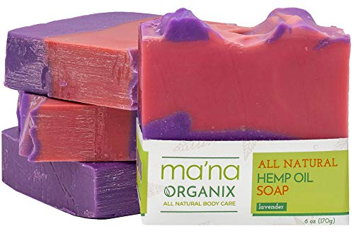 Ma'na Organix – All Natural Hemp Oil & Lavender Soap Bar with Ecofriendly and Biodegradable Packaging (1 bar of 6 oz.)