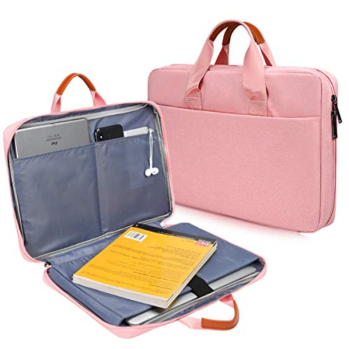 CaseBuy 180° freely Open Laptop Briefcase Bag for Surface Pro X/7/6/5/4, 13-inch MacBook Pro A2251 A2289 A2159 A1989, 12.9 iPad Pro, Acer HP DELL Samsung ASUS 11.6 Chromebook Laptop Case Bag, Pink