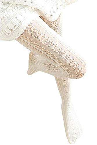 SurBepo Women Fishnet Hollow Out Chiffon Lace Stockings Tights Vertical Strips Pantyhose For Female (White, One Size)