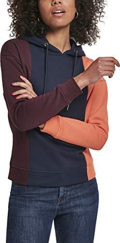 Urban Classics Kapuzen-Sweatshirt Ladies Tripple Hoody Capucha, Multicolor (Redwine/Midnight 02358), XS para Mujer