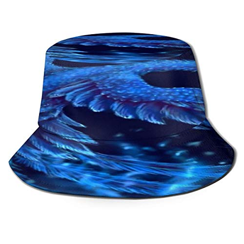 Beyond Loser Bucket Hat,Fishing Hat Blue Peacock Phoenix Flying Soft Cotton & Polyester Fabric Unisex Wide Sun Cap Windproof for Hiking Camping Traveling Fishing