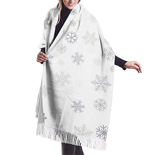 Navidad copos de nieve lugar texto copo de nieve invierno vacaciones chal abrigo invierno cálido bufanda capa gran bufanda bufandas de gran tamaño para