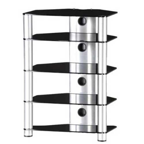 Sonorous Roxy RX2150in vetro nero e argento in alluminio Hi-Fi Separates rack