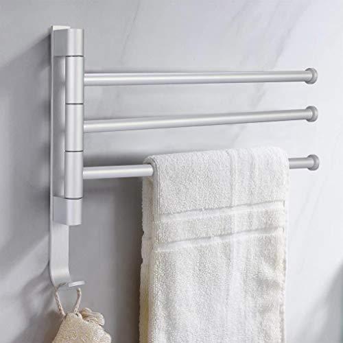 iKINLO Handtuchstange 3 Arme Handtuchhalter ohne Bohren Badetuchhalter Aluminium Wandmontage Halterung 180° Drehbar für Hause Büro Shop Restaurant [Silber]