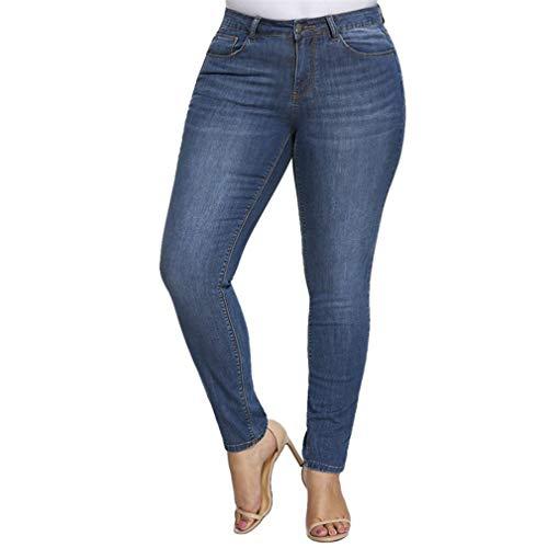 Wetry Jeans Vita Alta Taglie Forti Pantaloni Stretti Caviglia Jeans Elasticizzati Larghi Donna Skinny Jeans Denim Blu Leggings Comodi Push Up Jeggings/2XL