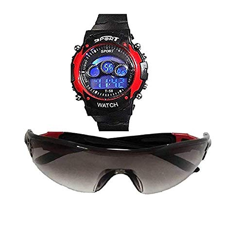 sba prime Digital Red 7 Lights Watch + Sunglasses for Age 7 to 15 Years Boys & Girls (Pack-2)