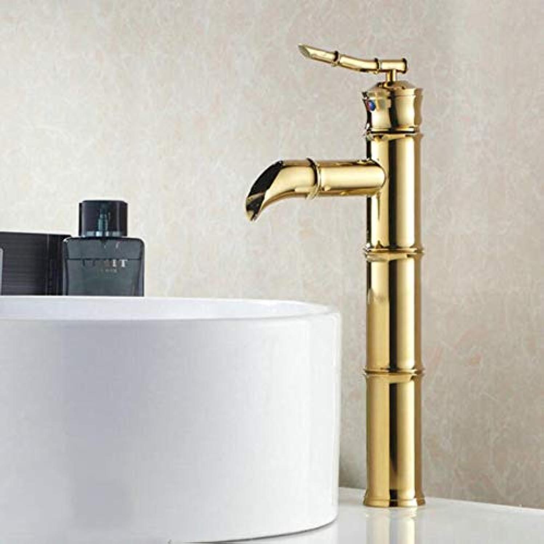 Wasserhahn Waschbecken Fashion Badezimmer Gold Becken Wasserhahn Einzelne Griffe Einlochmontage Für Heie Und Kalte Wasserhahn-Mischbatterien