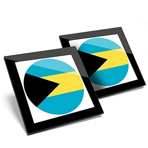 Fantastico set di 2 sottobicchieri in vetro – Cool Bahamas bandiera mappa lucida sottobicchieri/tavolo protezione per qualsiasi tipo di tavolo #9048