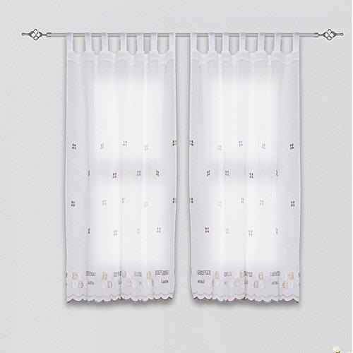 Frenessa Juego de Cortina Bordadas con Presillas, Visillo de Cocina Decoración de Ventanas, Grano Café, 1 Pieza 140 x 140cm