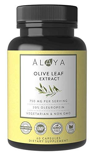 Alaya Naturals - Olive Leaf Extract Capsules, 20% Oleuropein (750mg) - Vegetarian Olive Leaf Capsules
