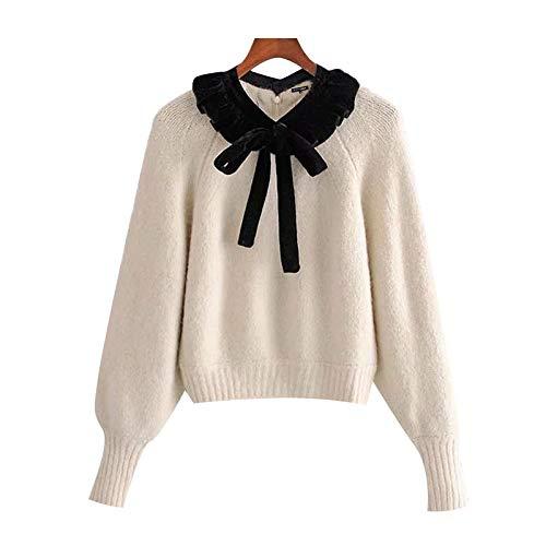 EIJFKNC Jersey de punto para mujer, estilo vintage, con lazo, manga de farol, para mujer, elegante, talla M