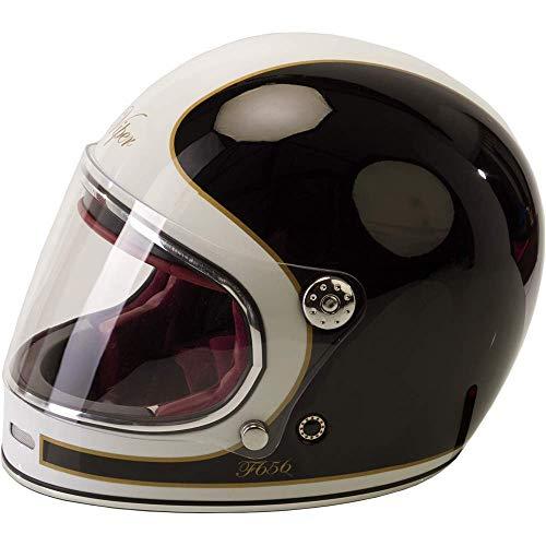 Casco integrale da moto per adulti VIPER F656 VINTAGE in vetroresina stile retrò bici Rider sicurezza moto crash casco - nero/bianco (S)