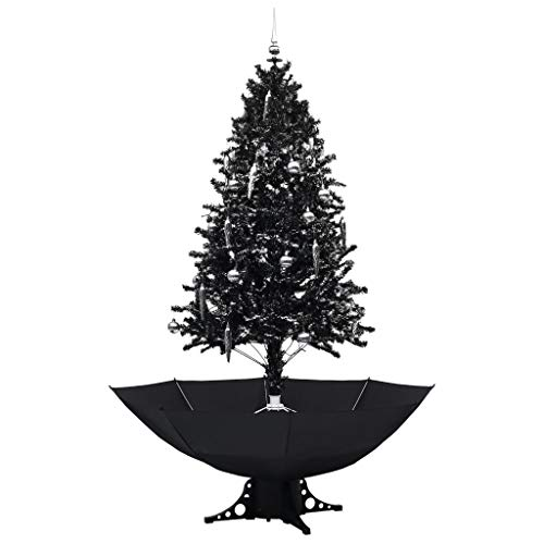 vidaXL Schneiender Weihnachtsbaum mit Schirmfuß Schneefall Künstlich Tannenbaum Christbaum Kunstbaum Dekobaum Weihnachten Dekoration Schwarz 190cm PVC