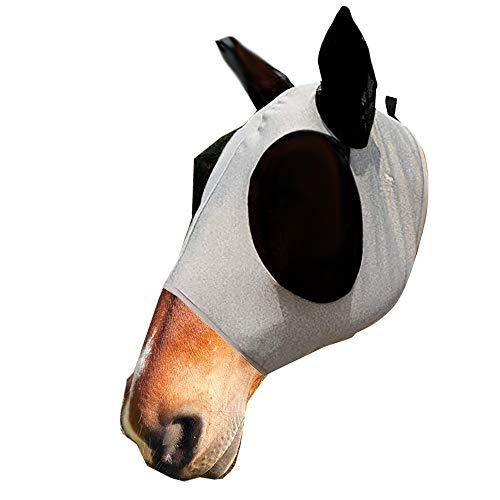 zunbo - Máscara antimoscas con orejas, protección contra rayos UV, malla suave de licra, para caballos, color gris