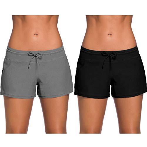 Xgood 2 Pack Women Swim Shorts Swimsuits Side Split Boardshorts Summer Swimwear Beach Shorts 6 Size Swim Shorts for Boys Girls Men Women(Black and Grey) (M)