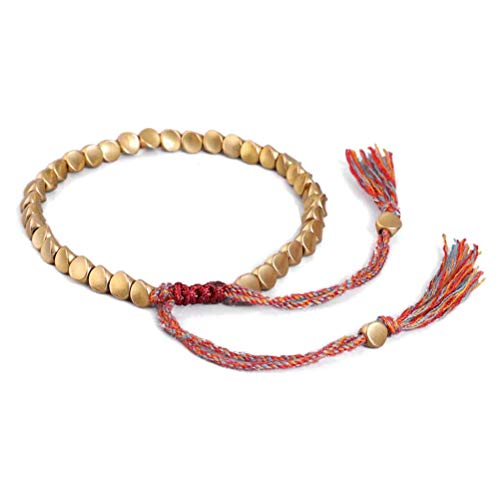 Asamio Handmade Tibetan Bracelet Copper Beads Bracelet Buddhist Bracelet Lucky Rope Bracelet Gift for Friends, Brothers and Sisters
