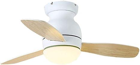 Simple Metal Ceiling Fan with Lamp,3 X Wooden Fan Blade, Household Mute Living Room Bedroom Children's Room Fan Chandelier...