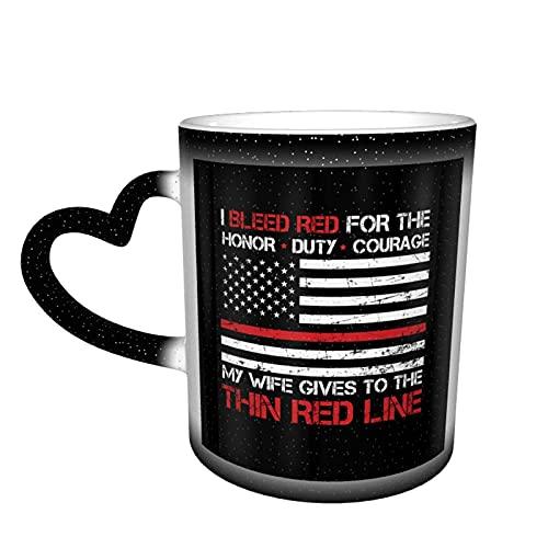Delgada línea roja bombero, tazas de café sensibles al calor, cambio de color con mango en forma de corazón de cerámica para mujeres 11 oz