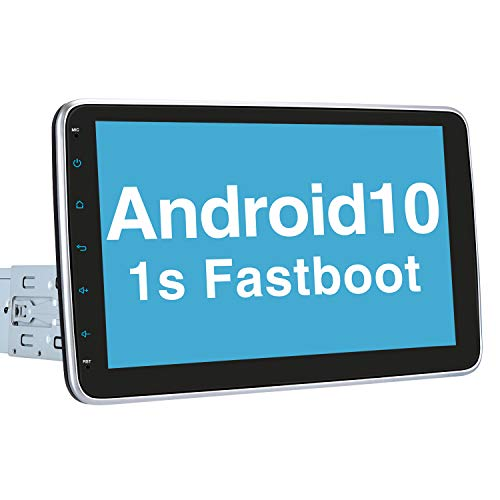 "Vanku 10.1"" Single Din Android 10 Car Stereo with Fastboot, GPS, WiFi, Support Android Auto, Backup Camera, USB/SD, Detachable Touch Screen"