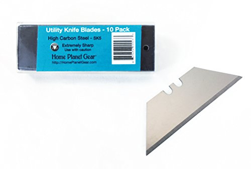 Replacement Blades Ten Pack for Utility Knife - 10 Heavy Duty SK5 High Carbon Steel Utility Razor Blades in Convenient Storage Box | Standard 61mm x 19mm
