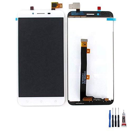 ECRAN LCD + VITRE Tactile pour ASUS ZENFONE 3 Max Plus et ZC553KL Blanc + Colle + Outils