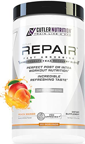 Repair Post Workout Recovery Drink: Fast Absorbing Carbohydrates (Waxy Maize + Cluster Dextrin) and BCAA/EAA for Advanced Muscle Recovery, Peach Mango, 20 Servings