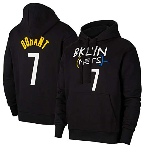 Kevin Durant Hoodie, Brooklyn Nets #7 2021 New Season City Edition Basketball Training Jersey Hoodie Pullover Herren Sweatshirt Jacke mit Kapuze (S~3XL) Gr. L, blau