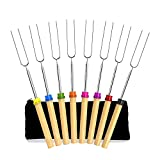 Newthinking Marshmallow Roasting Sticks, 32 Inch Extendable Telescoping Roasting Sticks Forks for Fire Pit and BBQ Campfire Party, 8 Pack