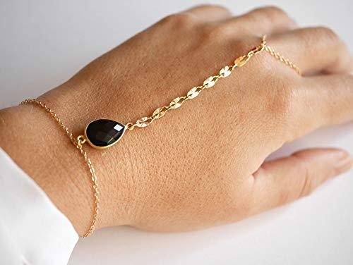 Bijoux de main - bracelet main plaqué or - Pierre Onyx noir - Chaîne dorée - Bracelet de main - Bague or - Noir et or - Bijoux soirée