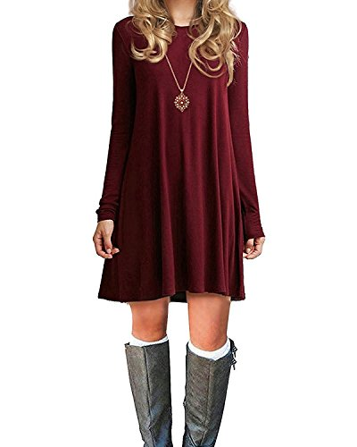 Durio Damen Einfaches Kleider Basic Casual A-Linie Skaterkleid Freizeit Kleider Fließendes Kleid Langarm Beiläufige Shirt Lose Rundhals Tunika Weinrot EU 42(Tag L) B