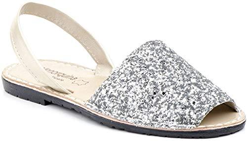 Menorca-Sandale Avarcas Menorquinas IM Glam-Look (40, Silber)