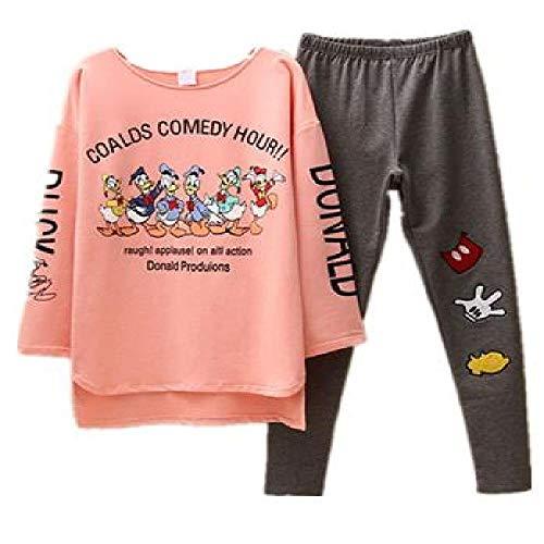 Pigiameria Due Pezzi Set Autunno Donne Paperino Del Fumetto Tuta Topolino Top Pantaloni Pigiama Moda Vestiti Plus Size rosa L