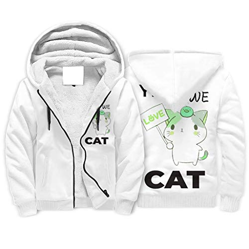 Twelve constellations Hooded Sweatshirt Yes We Cat Herren Warm Eng Lange Ärmel Jackenmantel Katze White 4XL