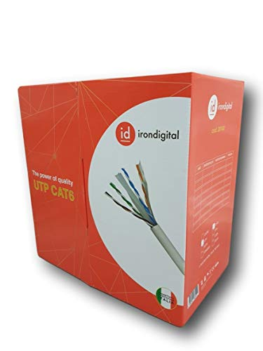 irondigital Bobina de cable UTP Cat 6 CCA 305 MT GIGABIT 10/100/1000 Mbps