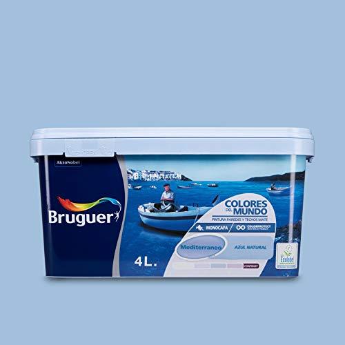 Bruguer Colores del Mundo Pintura para paredes monocapa Mediterráneo Azul Natural, 4 litros