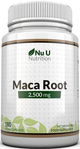 Maca Root 2500 mg - à base de racine de maca - Cure de 6 mois/180 Gélules - Compléments alimentaires de Nu U Nutrition